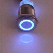 Schalter Druckschalter Edelstahl 22mm beleuchtet Blau LED 12V Rastend