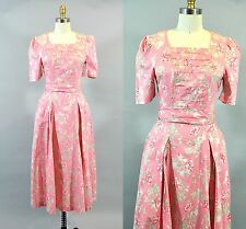 Vtg 1980s Women Laura Ashley Pink Floral Cotton Dress A-line Sz 8 Great Britain