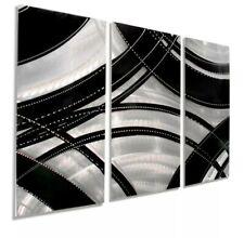 ULTRA MODERN Metal Wall Art 3 Panels Black Silver Abstract Sculpture Jon Allen