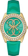 NEW-GUESS GOLD TONE,ICONIC LOGO,PAVE,CRYSTAL,GREEN LEATHER BAND WATCH U0208L6