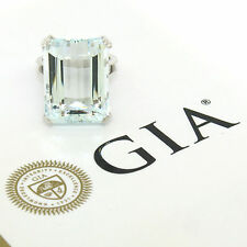 Vintage 18K White Gold Large 25.15ct GIA Aquamarine Solitaire Cocktail Ring S6.5