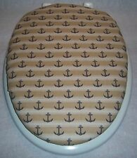 "NAUTICAL ANCHORS tan/denim blue sailing 14""x 18"" elongated Toilet Seat Lid Cover"