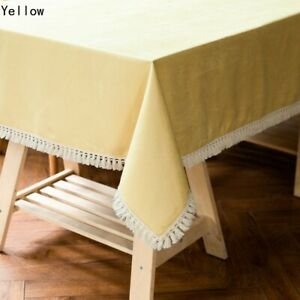 Plain Table Cloth With Tassels Home Kitchen Dining Table Covers Modern Rectangle