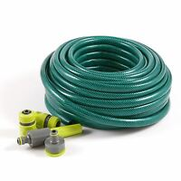30M Garden Hose Pipe Attachments & Spray Nozzle Fittings Reinforced HOSEPIPE Set
