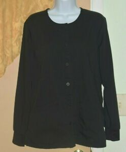 Purple Label Scrub Top Lab Coat Women's Sz M Black USED!!