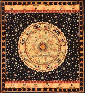 Indian Zodiac Bohemian Cotton Wall Hanging Mandala Tapestry Queen Size Bedspread