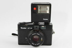 Vintage Rollei XF 35 FILM CAMERA w/ Sonnar 40mm F/2.3 Lens & Rollei Flash Unit