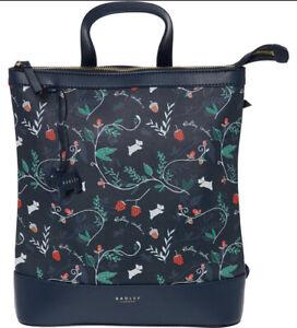 BNWT RADLEY Whimsical Forest Floral Medium Zip-Top Backpack - Navy Blue