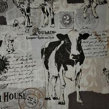 Fat Quarter 100% Cotton FQ Farmhouse Fabric Cows Pigs Chickens Sunflower Farm