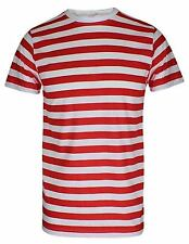 Childrens White And Red Stripe Top Boys Short Sleeve Crew Neck Book Week Tshirt
