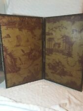 Antique Double Sided Decorative Printed Canvas Handmade Screen Or Divider