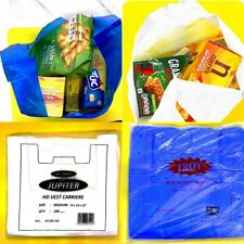 More details for 100 plastic carrier vest bags white blue shopping supermarket protect waterproof