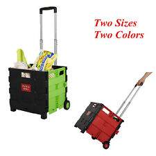 Folding Shopping Cart Laundry Rolling Utility Trolley Carrier Collapsible Basket
