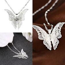 Femme Collier Sautoir Pendentif Papillon Strass Cristal Fantaisie Sans Chaine