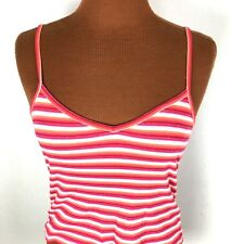 Gap Womens Tank Top Small S Red Multi Color Striped Crop Cropped Spaghetti Strap
