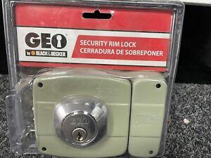 GEO Black & Decker Door Security Rim Lock Right Fixed Cylinder - Grey 91010-036