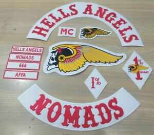 Hells Angels 45cm Iron On Embroidered Set
