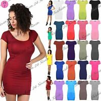 Womens Ladies Short Cap Sleeve Plain Mini Top Stretch Bodycon Party Dress