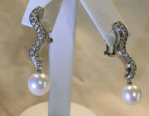Diamond Pearl Earrings, 18K White Gold, .53 tcw (Pave) 8.8 mm Pearl