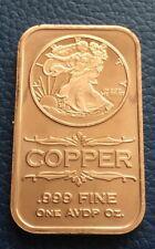 """1oz .999 Fine Copper Bar Bullion """"WALKING LIBERTY"""" In Wallet FREE POSTAGE"""