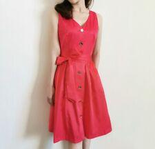 AUTH Ted Baker Button Front Tie Waist Dress Red / Dark Blue 0-5