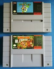 SNES Super Mario World & Donkey Kong Country- 2 Game Bundle! 100% Authentic!