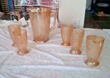 VINTAGE Gold Depression glass pitcher and 5 glasses (no chips) Ships in 24 hours