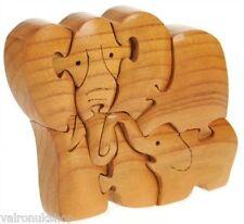 SUPERBA a mano legno 3D Modello Elefante e il suo vitello (BABY) Puzzle