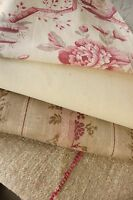 Antique French fabric vintage material PROJECT BUNDLE faded soft pinks neutral