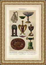 Antique print Gemstone gem jewel gems 1910 chromolitho Edelsteen
