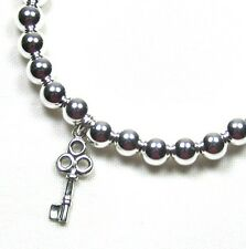 Sterling Silver 6mm Bead Bracelet with Silver Key 7""