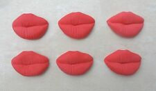 12 edible red large lips valentines fondant cupcake toppers,,cake decorations.