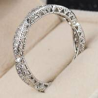 Women Noble 925 Silver Rings Jewelry White Sapphire Wedding Ring Size 6-10