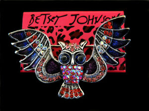 Betsey Johnson Red Crystal Enamel Rhinestone Owl Charm Women's Brooch Pin