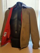London Fog Upscale Casual Jacket. Size 38. Khaki Brown with Red zip out lining.