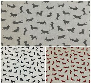 Chatham Glyn Sausage Dog,Linen Look Fabric for Curtain/ Upholstery/Cushion