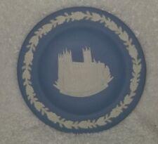 """Wedgwood Blue Jasperware Coaster Marked England Canterbury Cathedral 1988 4 1/4"""""""