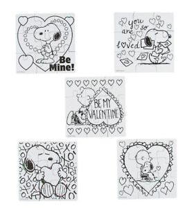 ❤️ Set of 5 Color Your Own Snoopy Valentine's Puzzles Kids Craft 15% Off $35+ ❤️