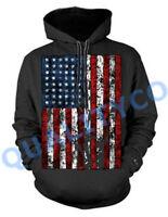 American Distressed Flag Black Hoodie Sweater US USA Biker Classic Sweatshirt