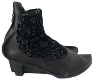 NWOB TRIPPEN Woven Leather Ankle Boots Booties Shoes | Black | EU 40/US 9
