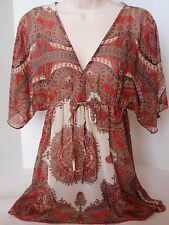 Ladies B-Wear Byer California Sheer Red Burgundy Paisley Blouse Cover-Up Boho M