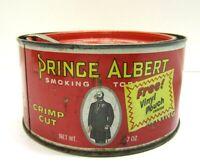 Vtg Round Tin Canister Crimp Cut Tobacco Prince Albert Old Cigarette Advertising
