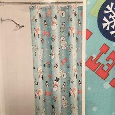 "Holiday Time Fabric Shower Curtain Blue Snowmen Bear Penguin Snowflake 70"" x 72"""