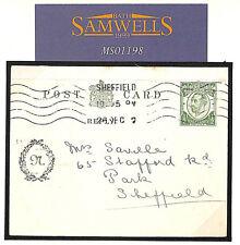 Ms1198 1912 Gb Postal Stationery *Downey*Card Reply Half *Sheffield* Yorks Cp61