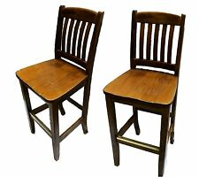 Vintage Mission Style Bar Chairs, Set of Two
