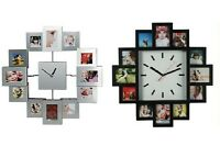 Family Time Photo Frame Wall Clock Holds 12 Pictures Aluminum Silver / Black New