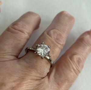sterling silver solitaire engagement ring cz Sz 91/2