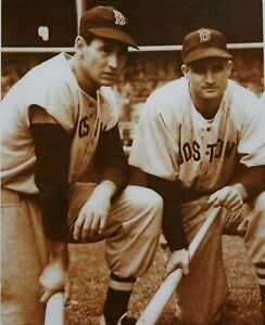 1939 Ted WIlliams & Bobby Doerr with Bats 8x10 Sepia Photograph Boston Red Sox