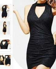 B4 Ladies Sleeveless Halter Backless Lace Splice Rock Party Fashion Mini Dress