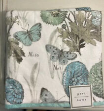 NWT Peri Home Butterfly Blue Gray White Green Bath Towels Set Of 2 Vintage Print